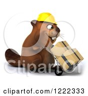 Clipart Of A 3d Beaver Construction Worker Mascot Pushing Boxes On A Dolly 3 Royalty Free Illustration