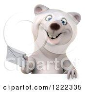 3d Polar Bear Mascot Holding An Envelope Over A Sign