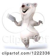 3d Happy Polar Bear Mascot Skipping Up An Envelope