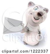 3d Polar Bear Mascot Holding Up An Envelope