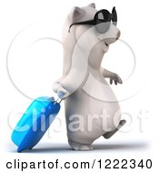 Clipart Of A 3d Polar Bear Mascot Wearing Sunglasses And Traveling With Rolling Luggage Royalty Free Illustration