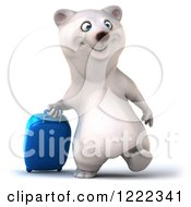 Clipart Of A 3d Polar Bear Mascot Traveling With Rolling Luggage Royalty Free Illustration