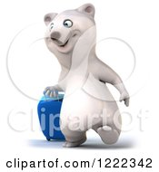 Clipart Of A 3d Polar Bear Mascot Traveling With Rolling Luggage 2 Royalty Free Illustration