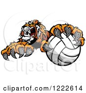 Clipart Of A Vicious Tiger Mascot Resting A Paw On A Volleyball Royalty Free Vector Illustration
