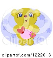 Cute Bear Holding A Heart And Circle Over A Purple Oval