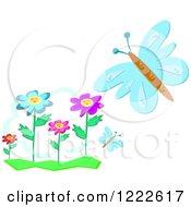 Blue Butterflies And Flowers