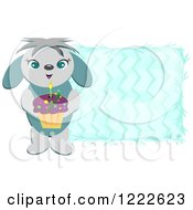 Clipart Of A Dog Holding A Cupcake Over Blue Zig Zags Royalty Free Vector Illustration by bpearth