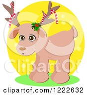 Cute Christmas Reindeer With Candy Canes On His Antlers