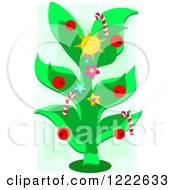 Christmas Tree With Berries Stars A Sun And Candy Canes