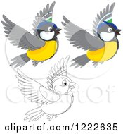 Clipart Of Outlined And Colored Cute Titmouse Birds Flying Royalty Free Vector Illustration