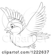 Clipart Of An Outlined Cute Sparrow Bird Flying Royalty Free Vector Illustration