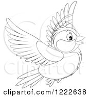 Clipart Of An Outlined Cute Titmouse Bird Flying Royalty Free Vector Illustration
