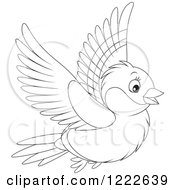 Clipart Of An Outlined Cute Bullfinch Bird Flying Royalty Free Vector Illustration