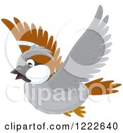 Clipart Of A Cute Brown And Gray Sparrow Bird Flying Royalty Free Vector Illustration