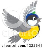 Clipart Of A Cute Titmouse Bird Flying Royalty Free Vector Illustration