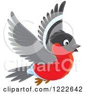 Clipart Of A Cute Flying Bullfinch Bird Royalty Free Vector Illustration