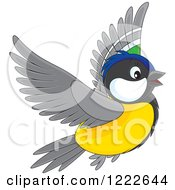 Clipart Of A Cute Flying Titmouse Bird Royalty Free Vector Illustration