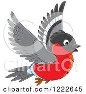 Clipart Of A Cute Bullfinch Bird Flying Royalty Free Vector Illustration