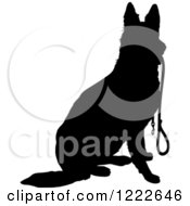 Clipart Of A Black Silhouetted German Shepherd Dog Sitting With A Leash In His Mouth Royalty Free Vector Illustration