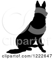 Clipart Of A Black Silhouetted German Shepherd Dog Sitting Royalty Free Vector Illustration