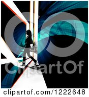 Clipart Of A Female Pedestrian Walking On A City Street With Swooshes And Rays Royalty Free Illustration