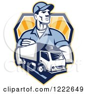 Clipart Of A Retro Delivery Man And A Truck Over A Shield Of Rays Royalty Free Vector Illustration