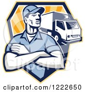 Clipart Of A Retro Delivery Man With Folded Arms And A Truck Over A Shield Of Rays Royalty Free Vector Illustration