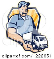 Clipart Of A Retro Delivery Man Holding A Truck In His Hand Over A Shield Of Rays Royalty Free Vector Illustration