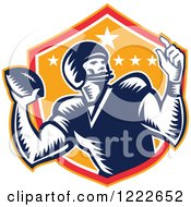 Clipart Of A Gridiron American Football Player Throwing Over A Red And Orange Shield Royalty Free Vector Illustration
