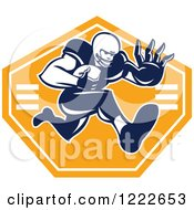Clipart Of A Gridiron American Football Player Running With The Ball Over An Orange Shield Royalty Free Vector Illustration