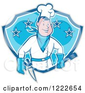 Clipart Of A Cartoon Male Cowboy Chef With A Spatula And Knife In A Blue Shield Of Stars Royalty Free Vector Illustration