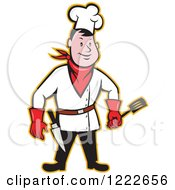 Clipart Of A Cartoon Male Cowboy Chef With A Spatula And Knife Royalty Free Vector Illustration