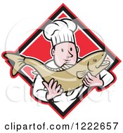 Clipart Of A Cartoon Male Chef Holding A Trout Fish Over A Red Diamond Royalty Free Vector Illustration