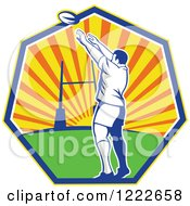 Clipart Of A Retro Rugby Player Throwing Against A Sunset In A Heptagon Royalty Free Vector Illustration