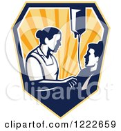 Clipart Of A Retro Nurse Tending To A Patient With An Iv Drip In A Shield Of Rays Royalty Free Vector Illustration
