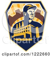 Clipart Of A Retro Factory Worker Mechanic In A Gear With A Building And Road Over A Sunny Shield Royalty Free Vector Illustration