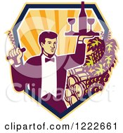 Clipart Of A Male Waiter Serving Wine Over Barrels In A Shield Of Rays Royalty Free Vector Illustration