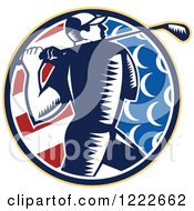 Clipart Of A Retro Woodcut Golfer In An American Flag Circle Royalty Free Vector Illustration