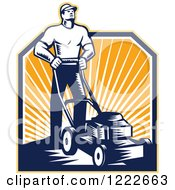 Clipart Of A Retro Woodcut Gardener Man Mowing Over Sunshine Royalty Free Vector Illustration