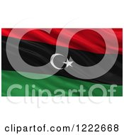 Clipart Of A 3d Waving Flag Of Libya With Rippled Fabric Royalty Free Illustration