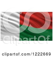 Clipart Of A 3d Waving Flag Of Madagascar With Rippled Fabric Royalty Free Illustration