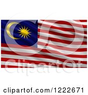 Clipart Of A 3d Waving Flag Of Malaysia With Rippled Fabric Royalty Free Illustration