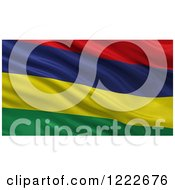Clipart Of A 3d Waving Flag Of Mauritius With Rippled Fabric Royalty Free Illustration