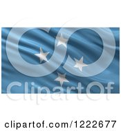 Clipart Of A 3d Waving Flag Of Micronesia With Rippled Fabric Royalty Free Illustration
