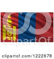 Clipart Of A 3d Waving Flag Of Mongolia With Rippled Fabric Royalty Free Illustration