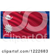3d Waving Flag Of Nepal With Rippled Fabric