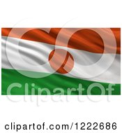 Clipart Of A 3d Waving Flag Of Niger With Rippled Fabric Royalty Free Illustration