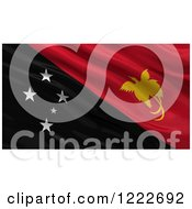 Clipart Of A 3d Waving Flag Of Papua New Guinea With Rippled Fabric Royalty Free Illustration
