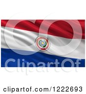 Clipart Of A 3d Waving Flag Of Paraguay With Rippled Fabric Royalty Free Illustration