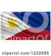 Clipart Of A 3d Waving Flag Of Philippines With Rippled Fabric Royalty Free Illustration